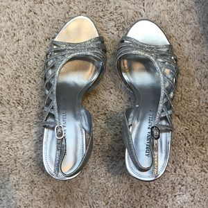 Adrianna Papell Silver Prom Shoe Heels